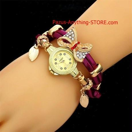 蝶レトロブレスレット腕時計 女性 結婚式 クォーツ腕時計 ラインストーン 繊細な女性腕時計 21761 9/25
