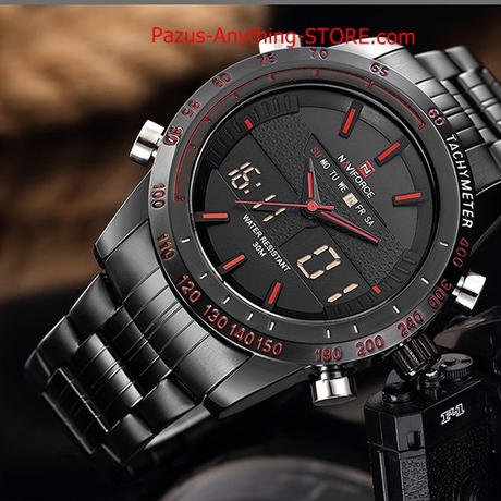 男性 スポーツ腕時計 メンズクォーツ デジタルアナログ時計 フルスチール腕時計 1698 9/25