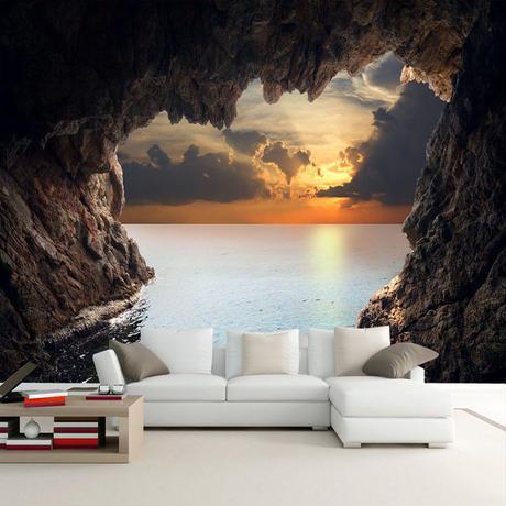 3D 立体洞窟海景日の出 テレビの背景壁画壁紙 リビングルーム 寝室の壁 アート 7/17 501