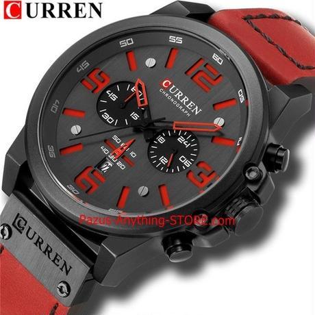 メンズ腕時計 高級メンズ軍事スポーツ腕時計 レザークォーツ時計 1731 9/25