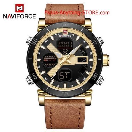 男性 デジタルスポーツメンズ腕時計 レザーバンドアナログ Led クォーツ男性時計 1723 9/25