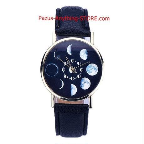 ムーンフェイズ腕時計 女性 月食柄 レザーアナログクォーツ腕時計 カジュアル腕時計 1765 9/25