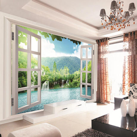 3D 壁画壁紙 窓 滝森林ビューアート壁画 リビング 寝室 廊下 子供の部屋 7/17 500