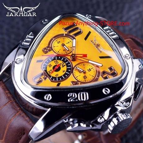 スポーツファッションデザイン 幾何トライアングル ブラウンレザーストラップ ダイヤルメンズ腕時計 1748 9/25