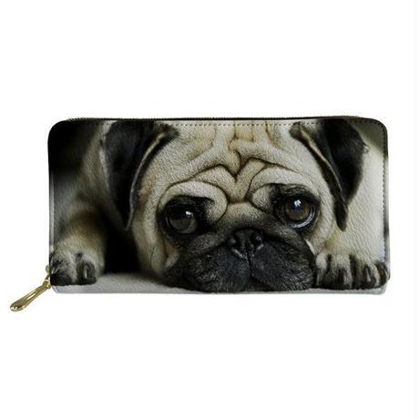 Coloranimal カジュアル pu長財布 かわいい ペット パグ 犬 レディースファッション財布 575