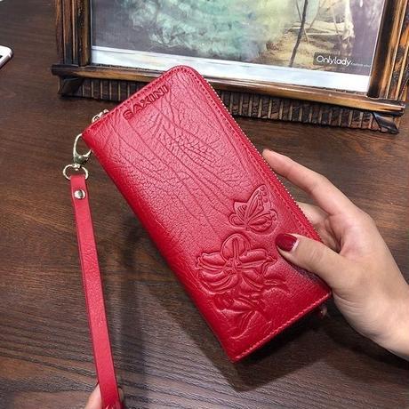 AOEO エンボス財布 女性 本革 リストレットカード レディース財布 570