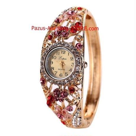 女性時計 合金クリスタルブレスレット腕時計 女性時計 クォーツラインストーン 1763 9/25