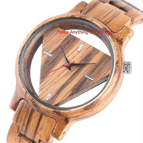 カジュアルトレンディ ギフト クラスプ竹腕時計 クォーツ 木材 女性 中空バングル 男性 1733 9/25