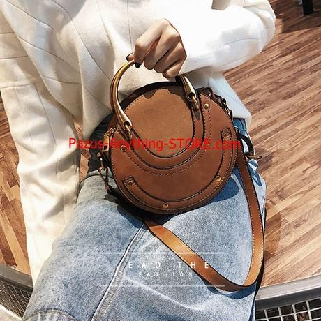 円形スクラブ puレザー 女性のバッグ レトロ ハンドバッグ ショルダーバッグ 1804 9/27