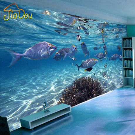カスタム壁紙 3D 立体水中 世界の海洋魚 リビング 子供部屋 テレビ 背景 壁画 壁紙 546 7/17
