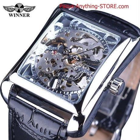 レトロ 長方形ダイヤル 黄金パターン 中空スケルトン腕時計 メンズ腕時計 1737 9/25