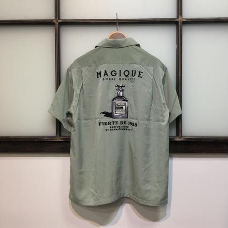 香水柄 刺繍 オープンカラーシャツ(全2カラー)