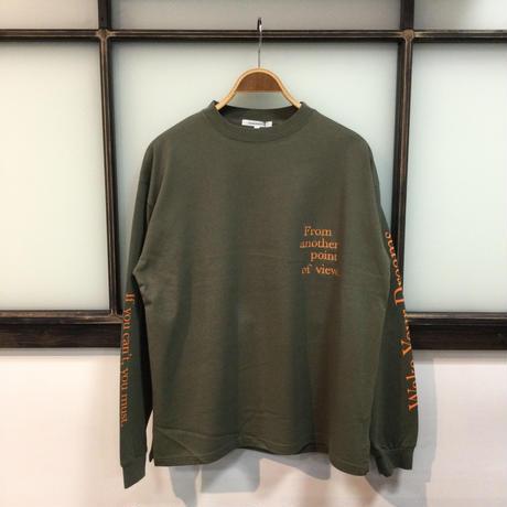 両袖プリント&胸刺繍ロングTEE(全3カラー)