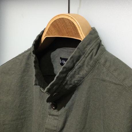AUD ソフトリネンコットンキャンバススタンドスモールカラーシャツジャケット(全2カラー)