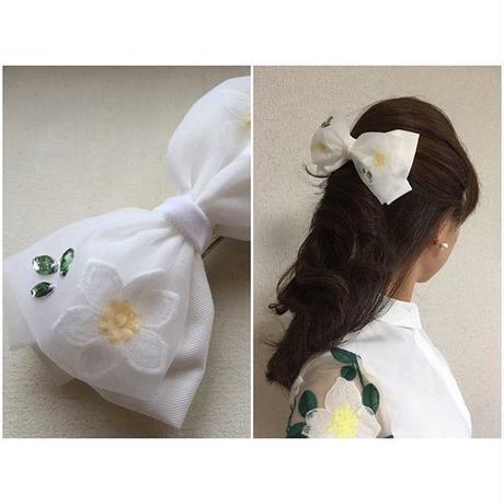 Flower Tulle Ribbonバレッタ