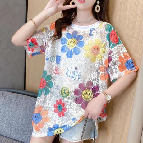 春夏✨カラフルなお花柄Tシャツ シャツワンピース