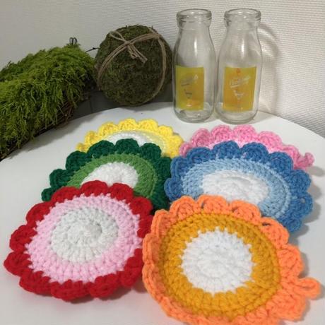 ハンドメイド小物◇アクリル毛糸100%タワシorコースター3色セット