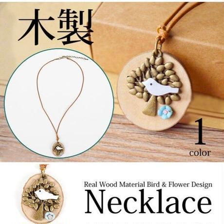ハンドメイド★リアルウッド!!小鳥と木と花のデザインウッドネックレス