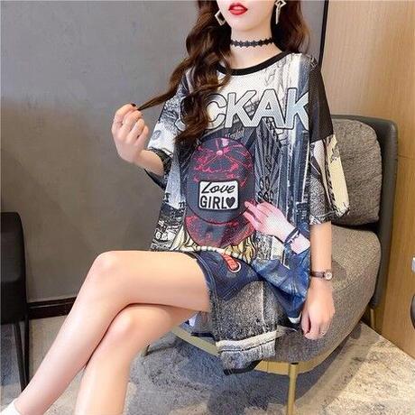 着やせ間違いなし!大人カラーの韓国シャツワンピース ビッグシルエットTシャツ