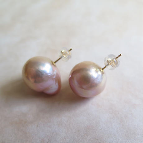Big pink pearl pierce