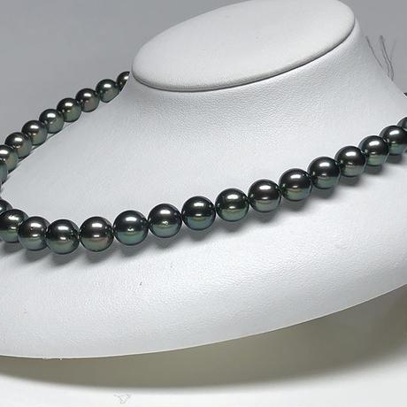 グリーン系10mmエレガントな南洋黒蝶真珠ネックレス<16121503>