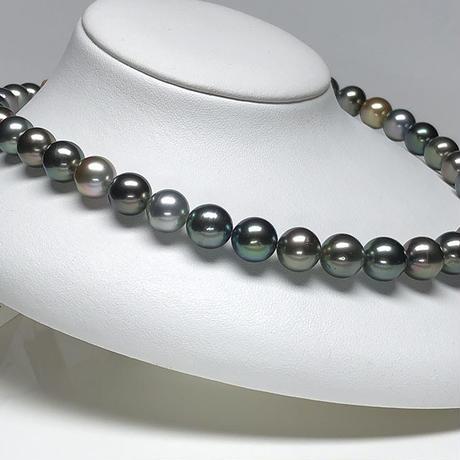 マルチカラー11mmエレガントな南洋黒蝶真珠ネックレス<16121510>