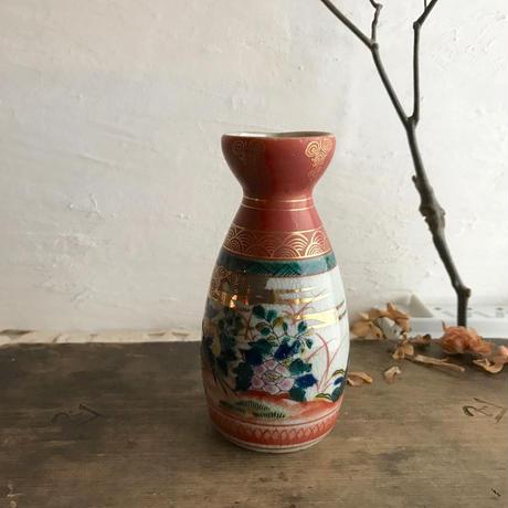 九谷焼の朱色鳥酒器・徳利13cm