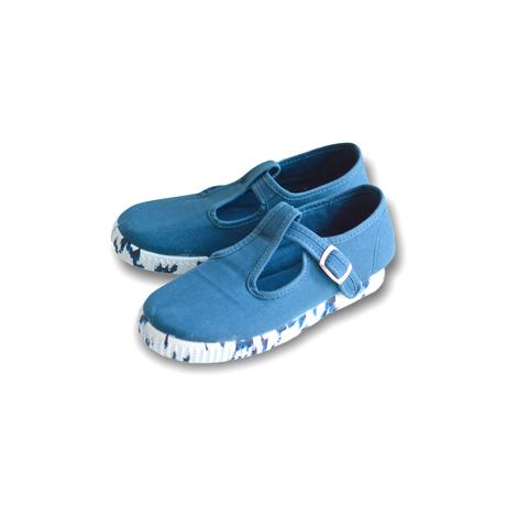 "【 La Cadena 21SS 】SANDALIA ""Tストラップシューズ""  / BLUE × MIX SOLE / 14〜16.5cm"