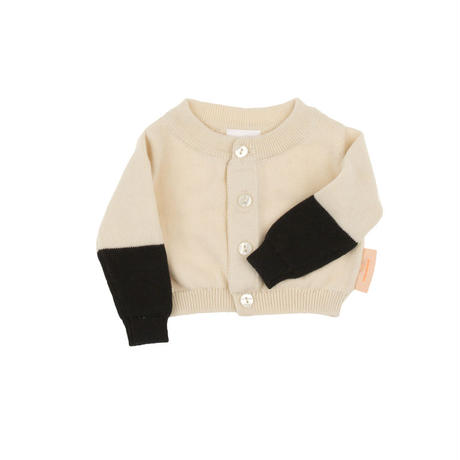 【tiny cottons 2017AW】AW17-179 color block baby cardigan /  beige / black
