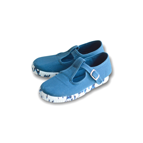 "【 La Cadena 21SS 】 SANDALIA ""Tストラップシューズ"" / BLUE × MIX SOLE / 17〜18cm"