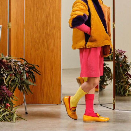 "【 THE ANIMALS OBSERVATORY 20AW 】WORM KIDS SOCKS(001316_038_XX) ""靴下""  / YELLOW x RED"