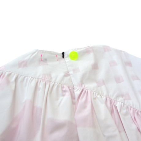 """【 franky grow 21SS 】ORIG. CHECK MIX GATHER DRESS [21SOP-169] """" ワンピース """" / WHITE-PINK"""