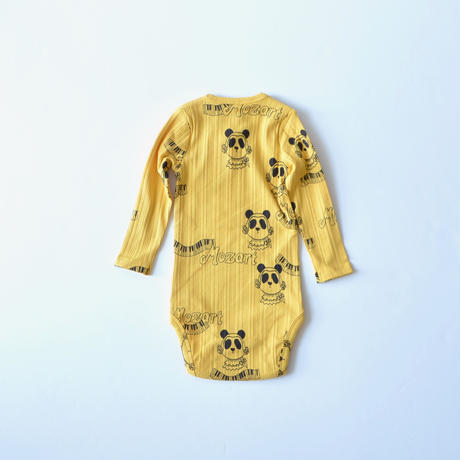 "【 mini rodini 20AW 】Mozart aop ls body(20740131) ""ロンパース""  / Yellow / 68-74cm"
