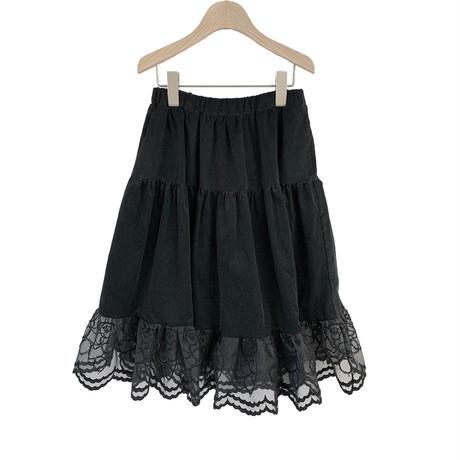 "【 UNIONINI 21AW 】teddybear lace corduroy long skirt / SK-006 "" スカート ""  / black / 4 - 12歳"