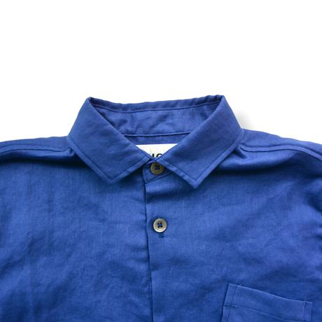 "【 UNIONINI 21SS 】BL-011 linen  big shirt  "" カラーシャツ ""  / blue"