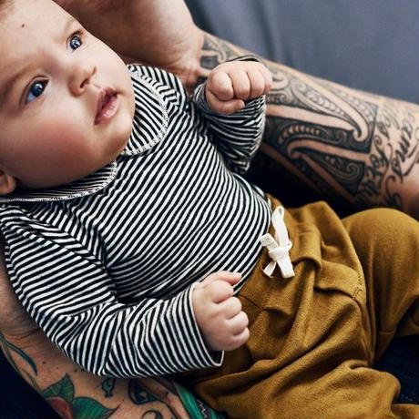 "【 GRAY LABEL 2020SS】Baby Collar Onesie  ""ロンパース"" / 70-80cm / Nearly Black/Cream Stripe"
