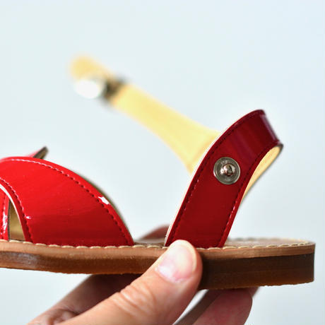 【 LADYBUG KIDS 】 日本の匠が作った クロスウェーブサンダル(1312) / カーマインレッド / 16〜24cm
