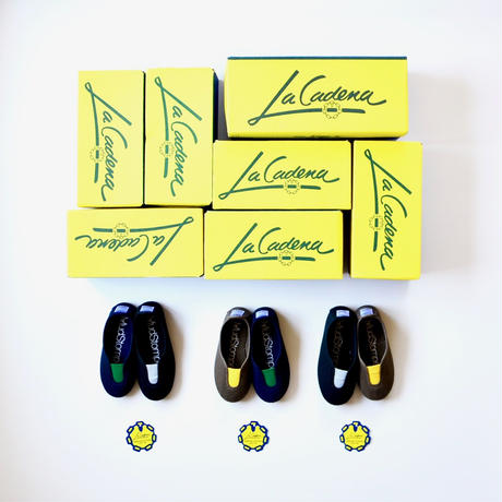 【 La Cadena 2019SS 】 GIMNASIA - Panel Slip On / OLIVE x YELLOW / 14〜18.5cm