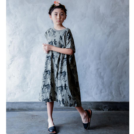 "【 michirico 21SS 】Flora and fauna asymmetry OP (MR21SS-10)"" ワンピース"" / ライトオリーブ / 90-115cm"