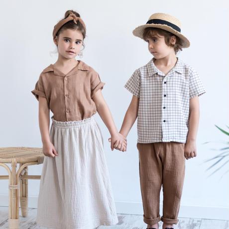 "【 MY LITTLE COZMO 20SS 】SHIRT KIDS - CARTAGO - ORIOLK85 "" シャツ ""  / STONE GRID / 3 -  8歳"