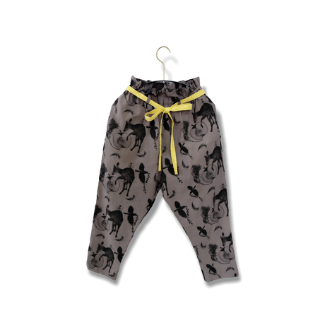 "【 michirico 21SS 】Flora and fauna pants (MR21SS-14)"" パンツ"" / チャコール / L (115-130cm)"