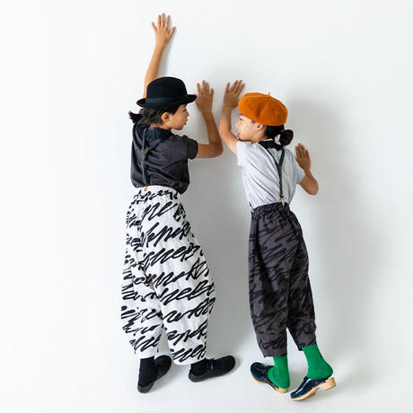 【 franky grow 2019SS 】BT-222 H/W BIG PANTS / WHITE-BLACK / LL