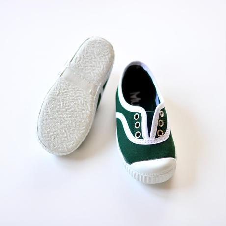 【 La Cadena アーカイブ 】 INGLES ELASTICO P  - White Trim  / BOTTLE GREEN / 17〜21cm