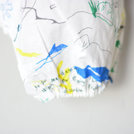 【 folk made 2020SS 】#5 folkloric print all in one / white x blue