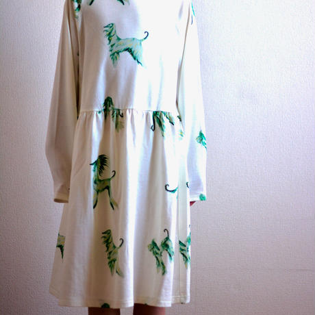 "【 folk made 20AW 】afghan hound jersey dress [F20AW-006] "" ワンピース "" / off white print"