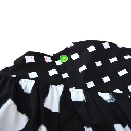 "【 franky grow 21SS 】ORIG. CHECK MIX  GATHER DRESS [21SOP-169] "" ワンピース "" / WHITE-BLACK / LL(9〜11歳)"