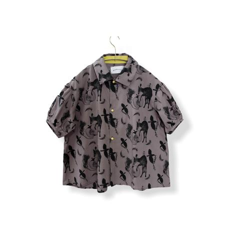 "【 michirico 21SS 】Flora and fauna shirt (MR21SS-13)"" カラーシャツ"" / チャコール / 90-115cm"