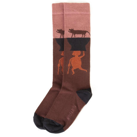 "【 WOLF&RITA 20AW 】SOCKS ANIMALS PINK ""靴下"" / PINK"