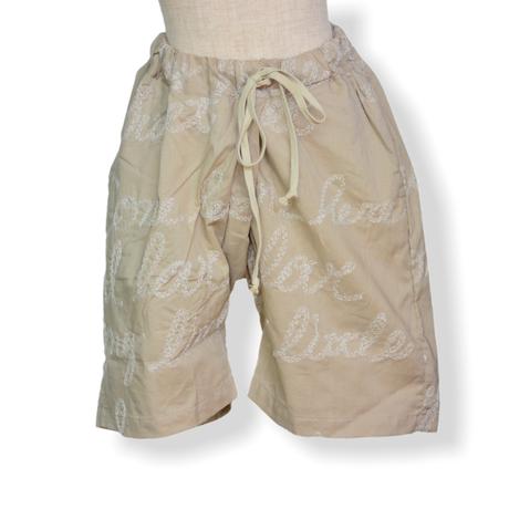"【 UNIONINI 21SS 】PT-086 embroidery short pants  "" ショートパンツ ""  / beige / 大人サイズ"