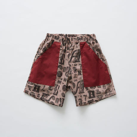 【 eLfinFolk 2019SS 】elf-191F15 stripe×alphabetic print shorts / burgundy